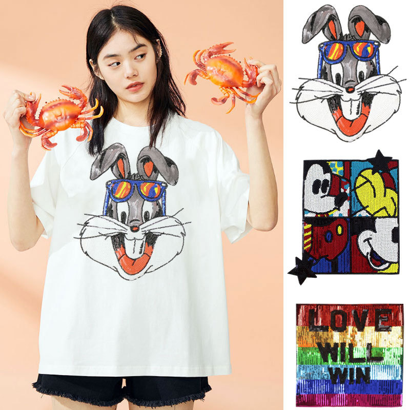 Personality Of Fangkuaimiqi Rabbit Head Large Sequins Patch T-shirt Patch Paste Hole Paste Sewing
