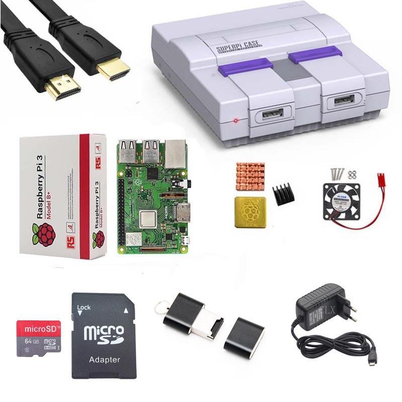 Retroflag SUPERPi CASE-U NESPi Case + Raspberry Pi 3 Model B/B + Kits + 5 V 3A Power + Heatsink + Fan + HDMI + 64GB Sd-kaart