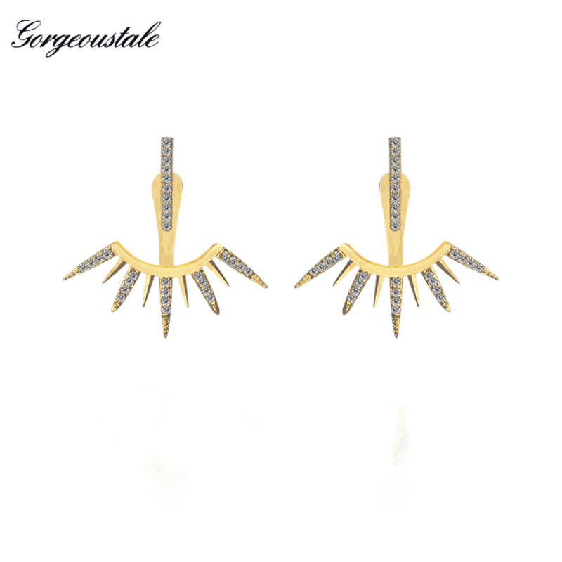 High Quality Gold Earings Fashion Pendientes Mujer Moda Ear Jackets Jewelry Crystal Arrow Earrings Stud Women