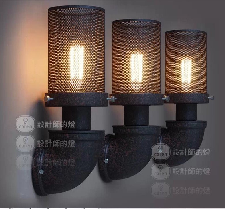 Nordico Retro Rust Broen Led Wall Lamp Rural wrought iron pipes Lampshade Sconce Bedroom Home Decor LOFT Fixtures Apliques Pared vintage birds wall lamp sconce bedroom kitchen shop aisle decor light fixtures black iron fabric lampshade home e14 110 220v
