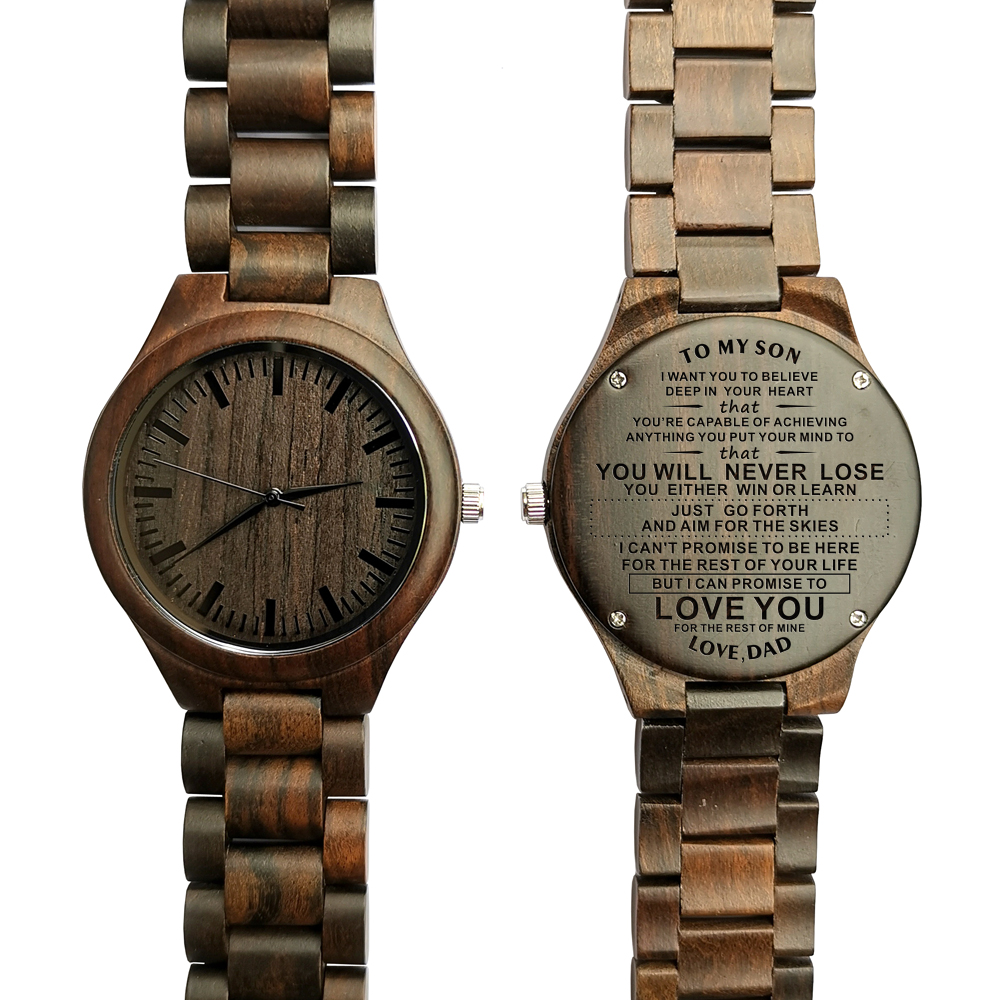 Z1814-ENGRAVED WOODEN WATCH TO MY SON LOVE YOU FOR THE REST OF MINE