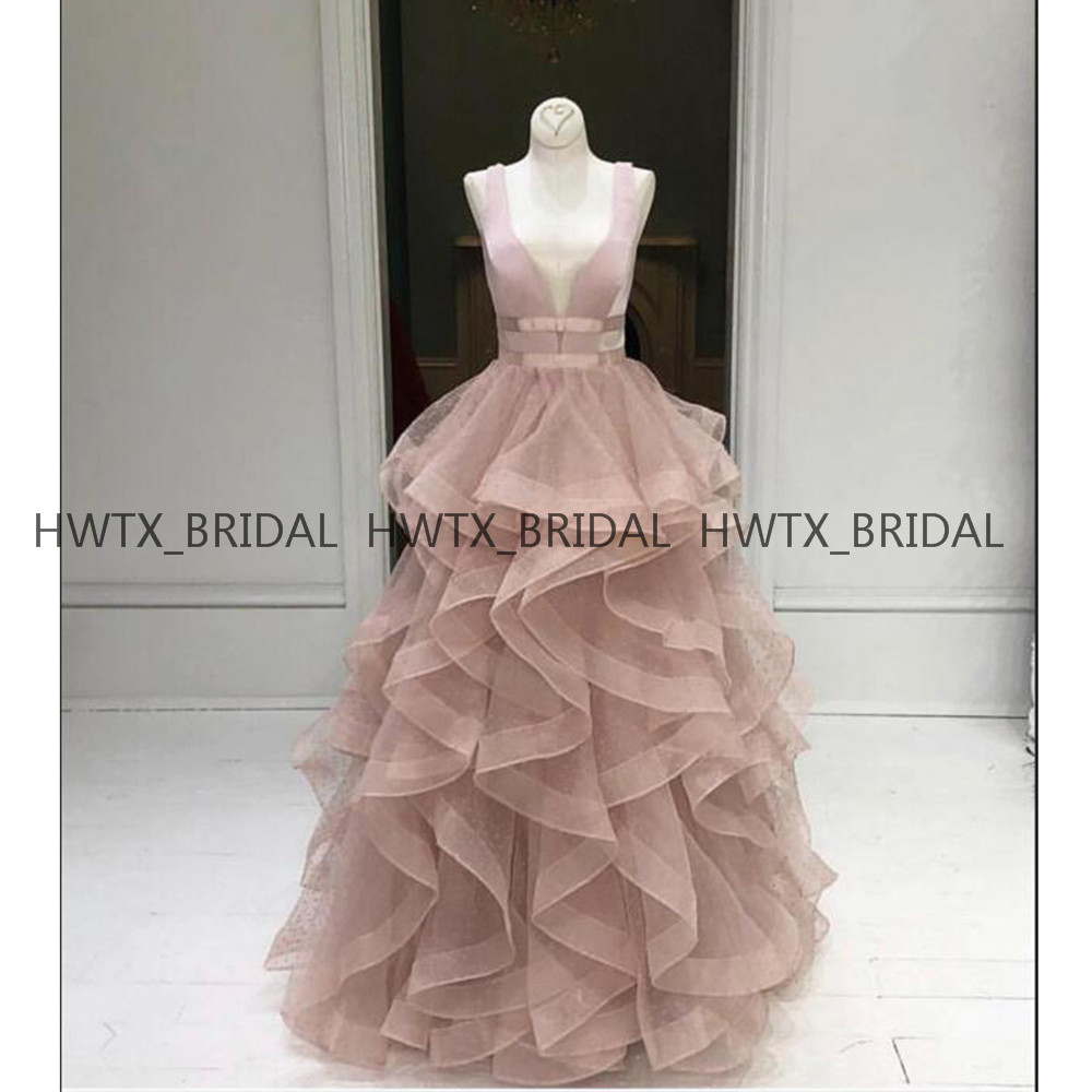 Blush Pink Long   Prom     Dresses   2019 Sleeveless V Neck Ruffles Tiered Skirt A Line Formal Evening   Dress   Vestidos de fiesta de noche