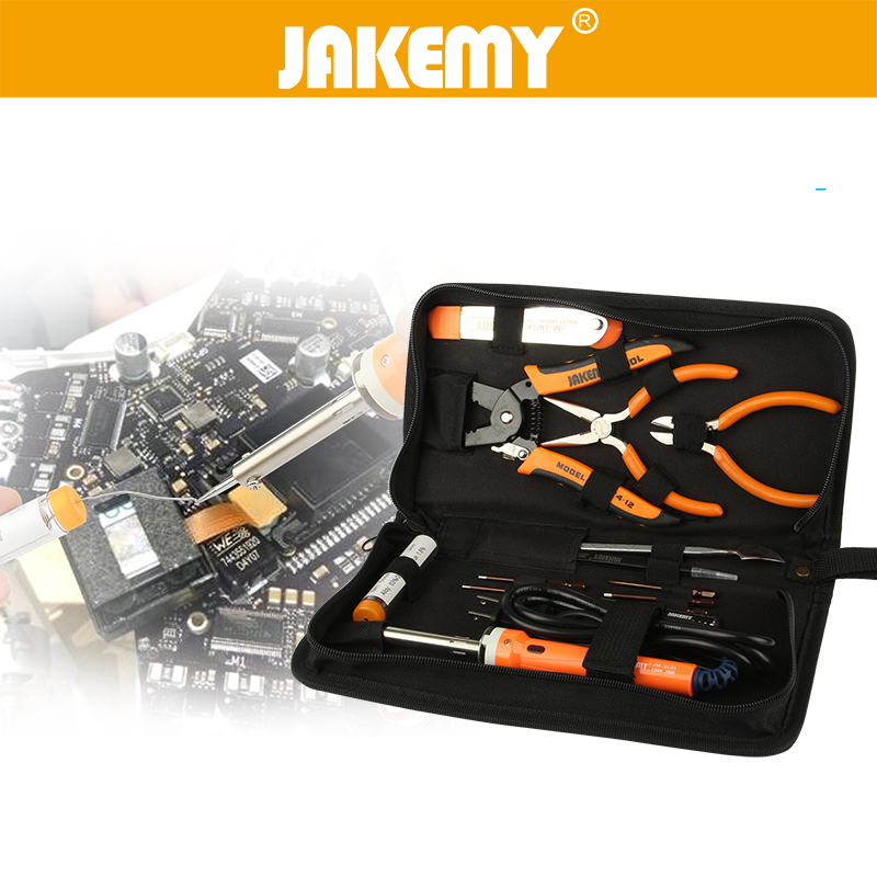 JAKEMY 14 in 1 Repair Opening Tools Set For Helicopter UAV Glider Model Electric Soldering Iron Screwdriver Wire Stripper Pliers
