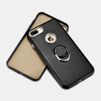Icarer For Iphone 7 7plus Case Finger Ring Stand Woven Pattern Back Cover For IPhone 7