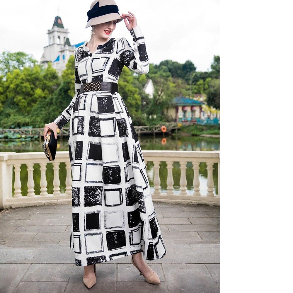Платье макси с длинным рукавом 2018 осень зима размера плюс женская одежда винтажные черные белые клетчатые вечерние платья с принтом длинно... - 4