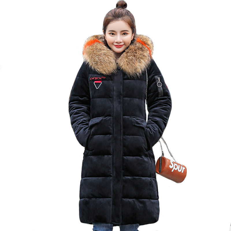 2019 New Fashion Warm Thicken Winter Jacket Women With Fur Hooded Velvet Fabric Female Womens Coat Outwear Long   Parka