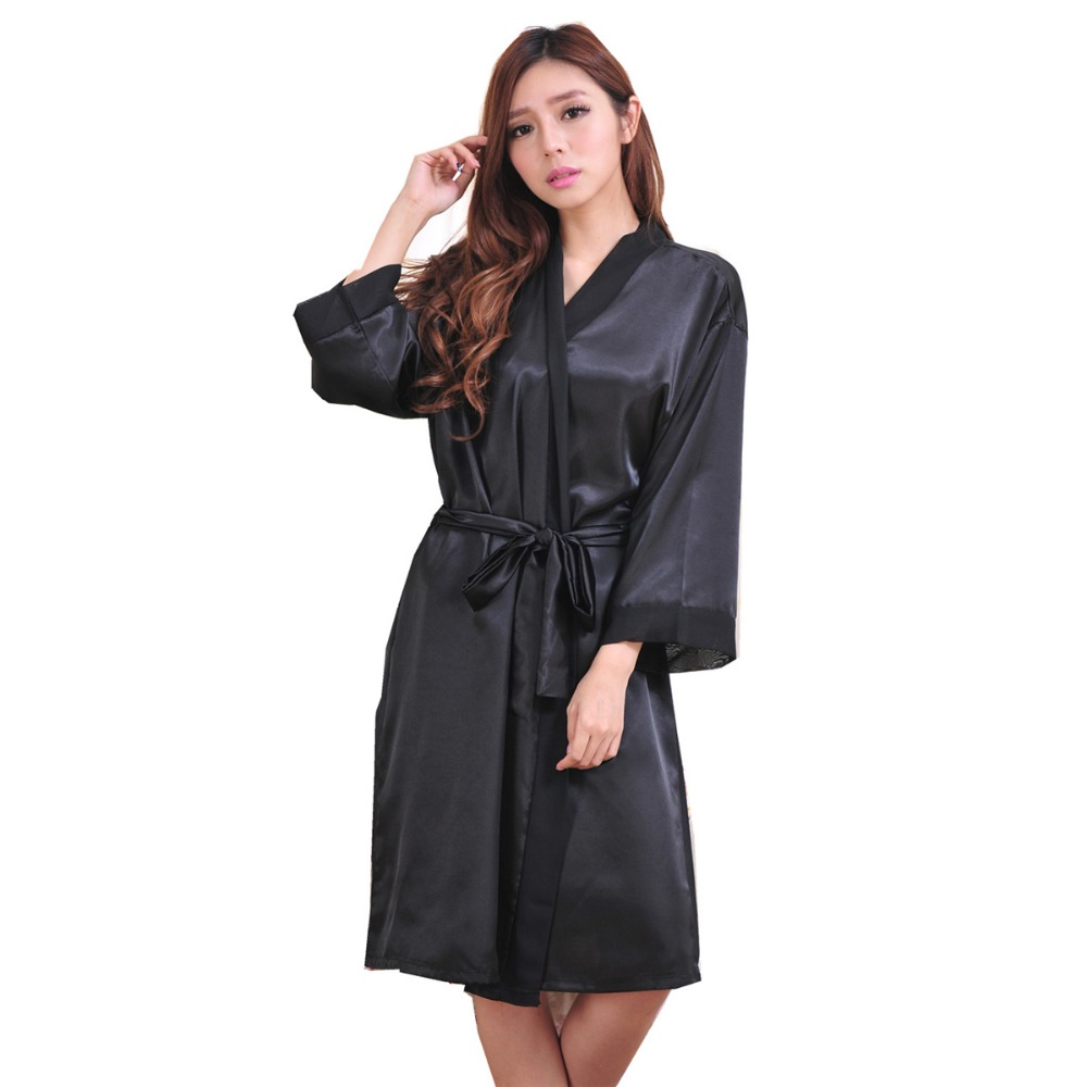 Top Quality New Black Chiese Women Silk Chiffon Robe Sexy Kimono Bath Gown Sleepwear Nightgown Casual Robe One Size T06