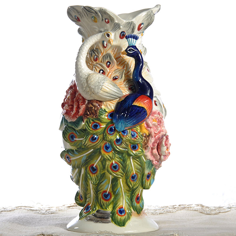 Ceramic Creative Peacock Rose Flowers Vase Pot Home Decor