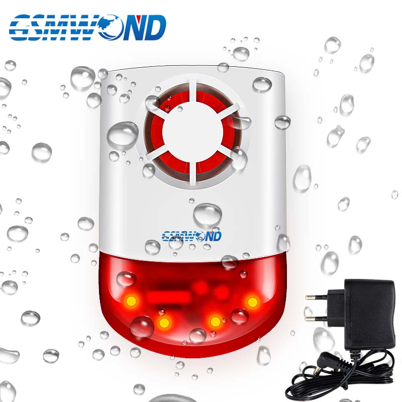315MHz Wireless Strobe Siren Outdoor Waterproof Lightning protection <font><b>120dB</b></font> Loudness Sound & Flash Light Alarm For M2B G2B Alarm image