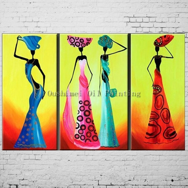 Pittura A Olio Dipinta a mano Africa Dancer Dipinti Parete Quadri ...