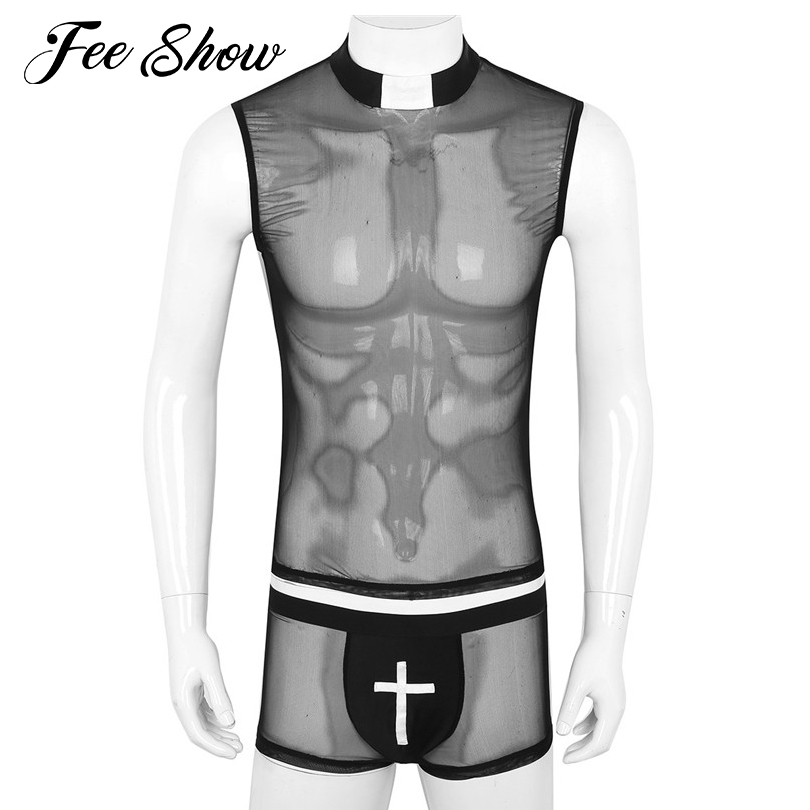 2Pcs Gay Mens Sexy Lingerie Exotic Sets See Through Sheer Mesh Outfit Sleeveless Top Shirt with Soft Bulge Pouch Boxer Underwear