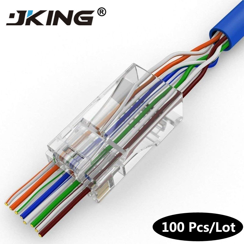 EZ Rj45 Connector Cat6 Rj 45 Ethernet Cable Plug Cat5e Utp 8P8C Cat 6 Network 8pin Unshielded Modular Cat.6 Terminal Easy Pass