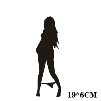 Automobile Motorcycle Funny Beautiful Sexy Woman In Bikini Decorative Wall Stickers Cartoon Car Sticker Black/Silver CT-573 4
