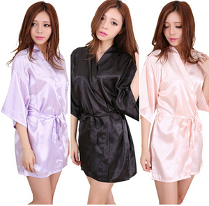 RB034 2016 New Satin Bridesmaid Robes,White Faux Silk Wedding Bridal Sisters Dressing Gown/ Kimono Bathrobes(China)