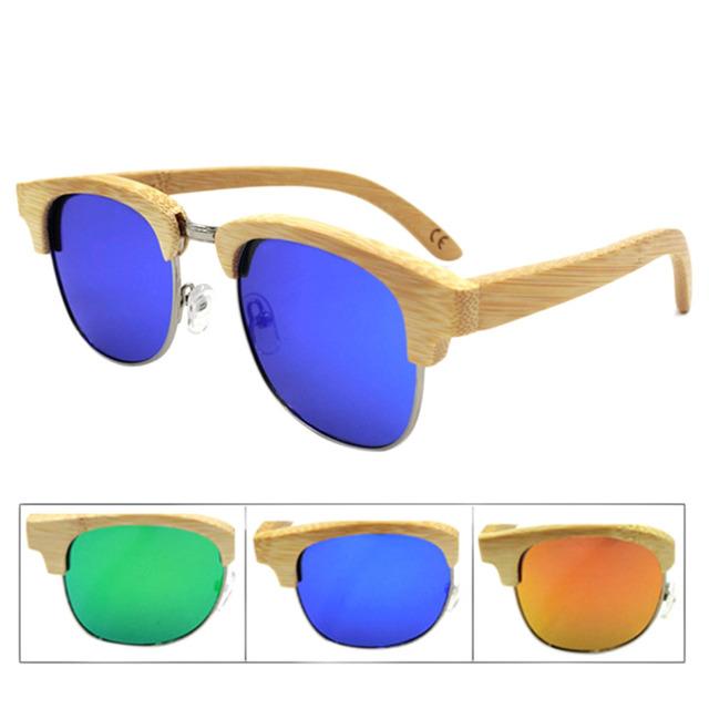 New Bamboo Madeira Oval Óculos de Sol Da Moda Mulheres Homens Retro Vintage Polarized Half Frame Óculos de Lente Moldura De Madeira Feitos À Mão