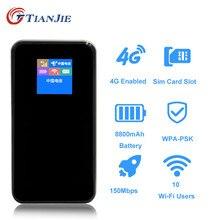TIANJIE Entsperrt 150Mbps Tragbare Power Bank Mifi 4G LTE Wifi Router Wireless Tasche WiFi Hotspot Auto Wifi Mit sim Karte Slot