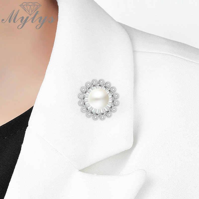 Mytys Sepanjang Putih Mutiara Pins untuk Wanita Berkerah Setelan Manset Bros Jarum Sepanjang Bentuk Bunga Perjamuan Bros Hadiah X356