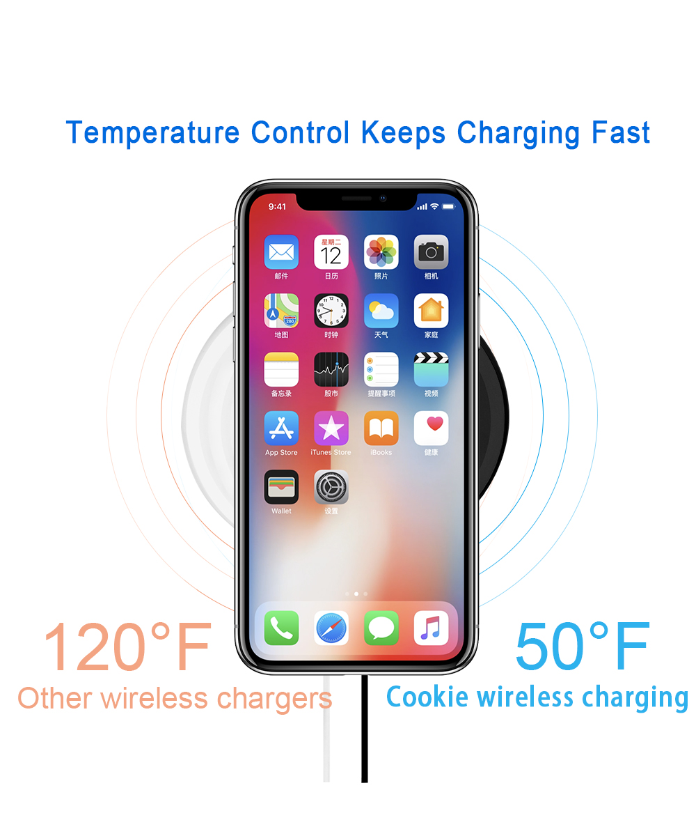 Ascromy 10W Fast Wireless Charging Pad For Samsung Galaxy S9 Plus S8 Note 8 7.5W For iPhone X 8 Plus Waterproof Mini Qi Charger (7)
