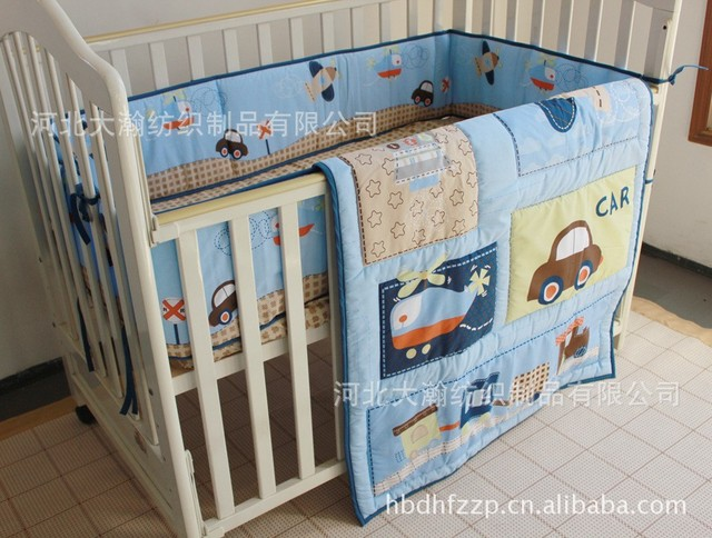Promotion! 3PCS Car Baby bedding set crib bedding set baby bedclothes (bumper+duvet+bed cover)