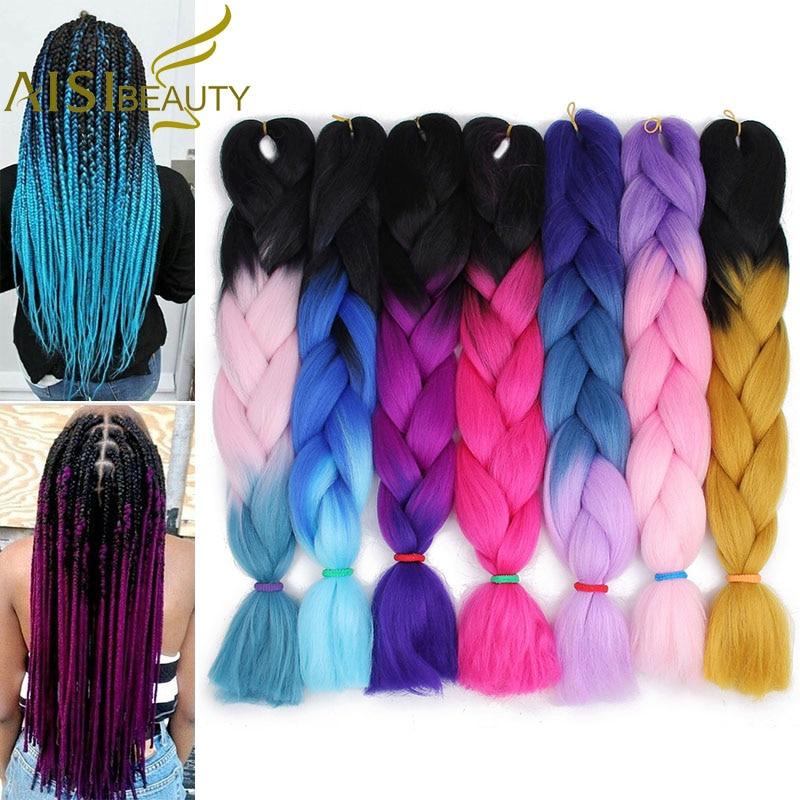 Айси красоты 100 г/упак. 24 дюймов канекалон Джамбо косы волосы ломбер два тона цветной синтетические волосы для куклы крючком волос