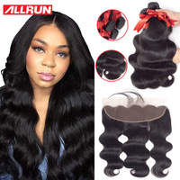Brazilian Body Wave 13*4 Lace Frontal   With     Hair   Bundles 2/3 Brazilian Human   Hair     Weave   Bundles   With     Closure   Swiss Lace Frontal
