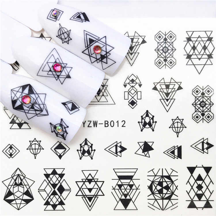1 pcs Skull Halloween Plant Nail Sticker Water Decals Women White Flower Cat Butterfly Transfer Nail Art Decoration m2c1