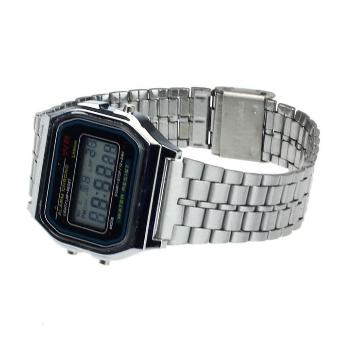 Men Quartz Movement LED Digital Dress Watch Stainless Steel Waterproof Wrist Watch
