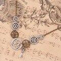 DoreenBeads Nova Moda Steampunk Colar Declaração Elo Da Cadeia de Cabo de Bronze Antigo Da Engrenagem Chave Pingentes 45.5 cm de comprimento, 1 Peça