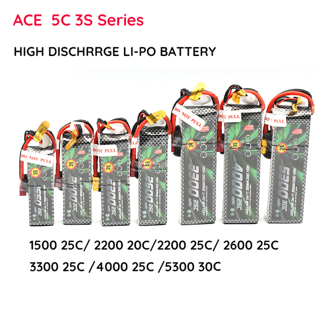 Lipo ACE Lithium Battery 3S 11.1V 1550 2200 2600 3300 4000 5300 MAH 15C 20C 25C Four Axis Fixed Wing Car Boat