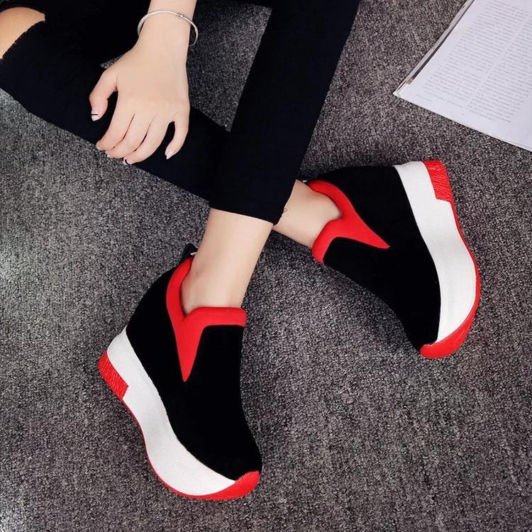 Noir À Chaussures Femme Automne 2019 Étudiants Décontracté Doux Sarairis Semelles Appartements Croissante Sur Hauteur Printemps Slip Plat Sneakers Nouveau rouge Compensées 1nwHzq