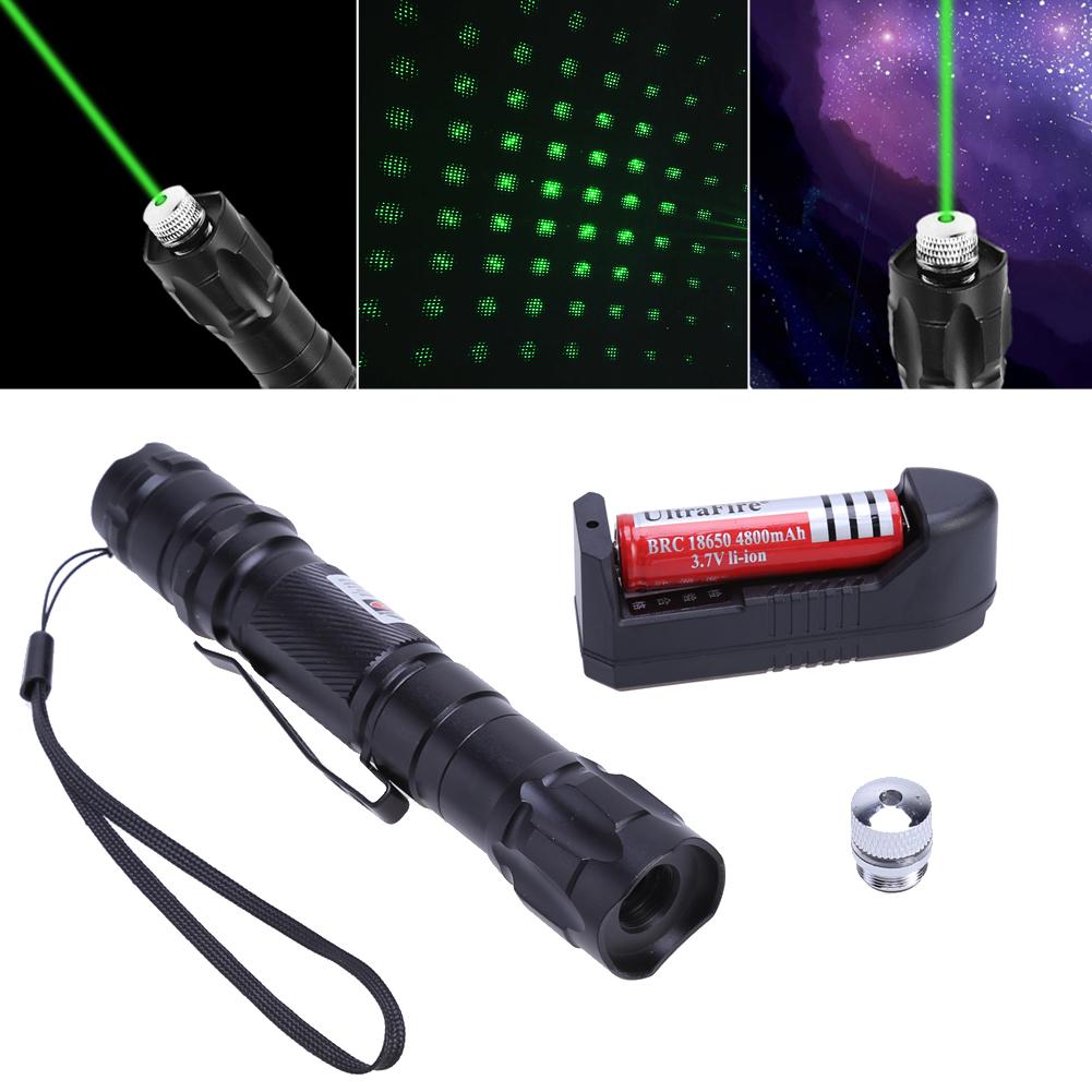Professional Metal Laser Pointer Kit Set Powerful Green Light Pen Lazer Beam 1000-8000m w/ Battery Charger for Outdoor Teaching