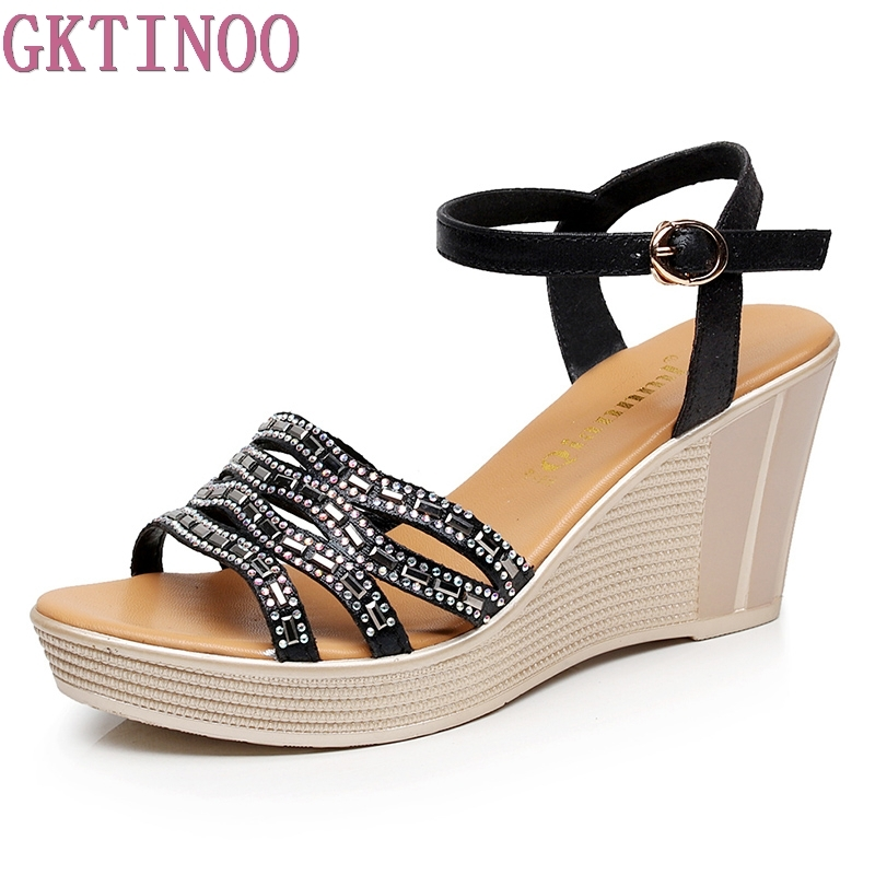 GKTINOO 2018 Summer shoes woman Platform Sandals Women Casual Open Toe Gladiator wedges Women Shoes zapatos mujer plus size vtota 2017 fashion wedges women sandals bling summer shoes woman platform sandalias soft leather open toe casual women shoes r25