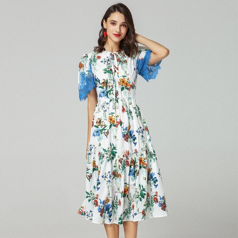 Manches Floral D'été Nouvelle Vase Élégant Imprimer 2019 Piste Dentelle Slim Femmes Robe Designer Courtes Mode nZn4Pq0