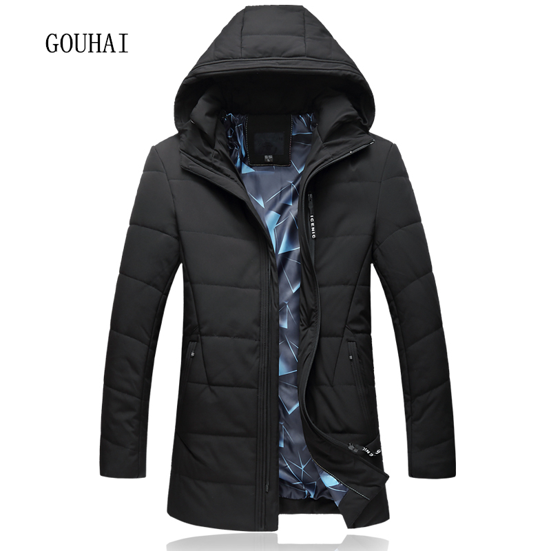 цены L-7XL Solid Men Parkas Hooded Warm 2017 Mens Winter Jacket Plus Size Windbreaker Brand Clothing Man Long Coat Male Overcoats