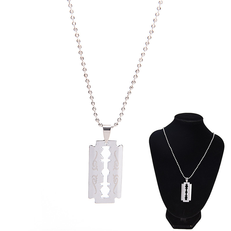 Trendy Razor Blade Necklace Men Jewelry Silver Color Pendant & Chain Fathers Day Gifts For Dad
