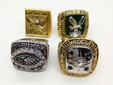 Alta calidad 4 unids/lote (1949/1960/1980/2004) philadelphia eagles anillo de campeonato de la serie mundial con caja de madera