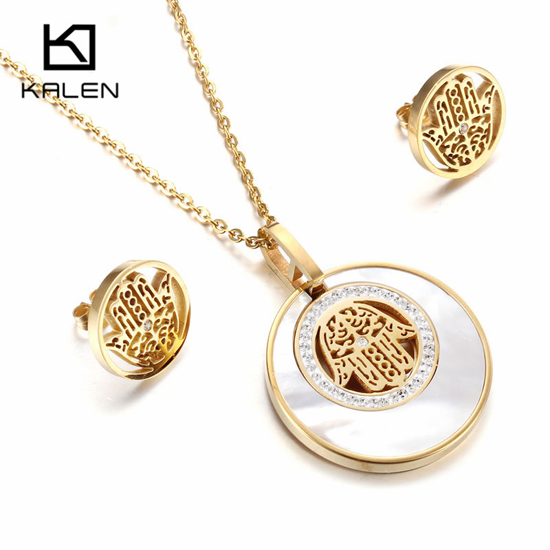 Kalen Women Lucky Shell Jewelry Set New Stainless Steel Gold Color Fatima Hamsa Hand Pendant Necklace & Earrings Set Gift 2017