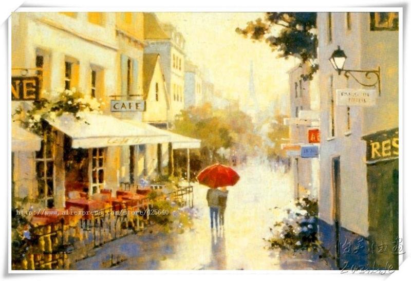 Paris Cafe Painting On Canvas