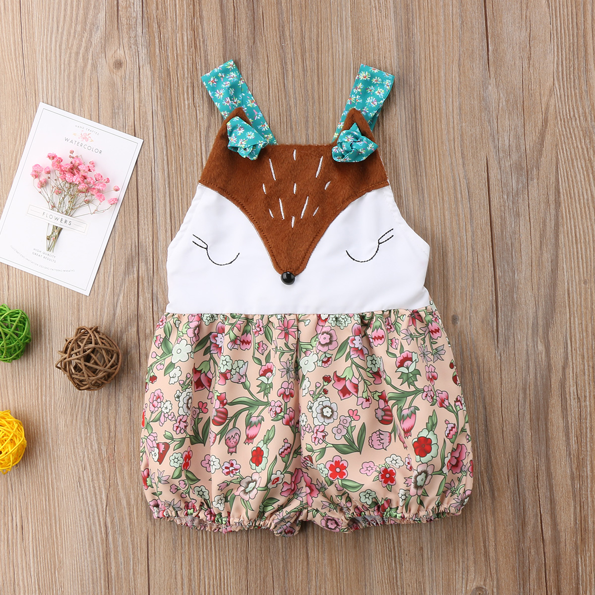 Sweet Infant Baby Girls Fox Sleeveless Floral Strap Playsuit Rompers Jumpsuit Cute Outfits Sunsuit 3-18M