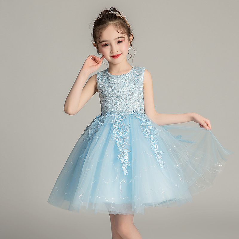 Kids Baby Clothes 3 Colors Lace Mesh Sequins Cute Wedding Party   Dress   Summer 2019 New Sky Blue Princess   Flower     Girl     Dress   5-12Y