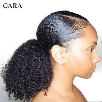 CARA 3B 3C кудрявый зажим в хвостик человеческие волосы для наращивания бразильские волосы продукты шнурки конский хвост натуральный цвет Remy >> CARA Official Store