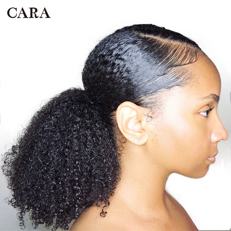 CARA 3B 3C Kinky Curly Clip In Ponytail Human Hair Extensions Brazilian Hair Products Drawstring Ponytail Natural Color Remy image