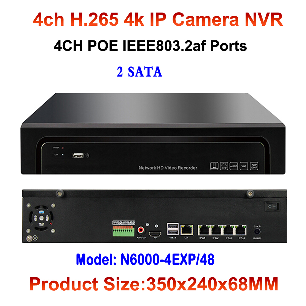 H.265 4CH POE NVR HDMI Onvif P2P Motion Detection For 12MP/8MP/5MP/3MP/1080P/720P IP POE Camera Video Network Recorder