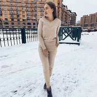 MVGIRLRU Winter Women's Sets warm wool knitted suits long sleeve v neck sweaters+pants loose style 2 piece set Feminine clothes