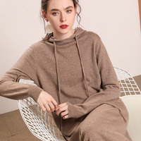 Women Sweaters Long Style Dresses 100% Pashmina Knitting Pullovers New Arrival Hooded Fashion Jumpers Ladies Pure Cashmere Dress