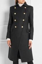 a3506587fe2 UK 2019 Women Autumn Winter Notched Lapel Single Breasted Simple Woolen Long  Coat Black Female Overcoat Casacos Manteau femme