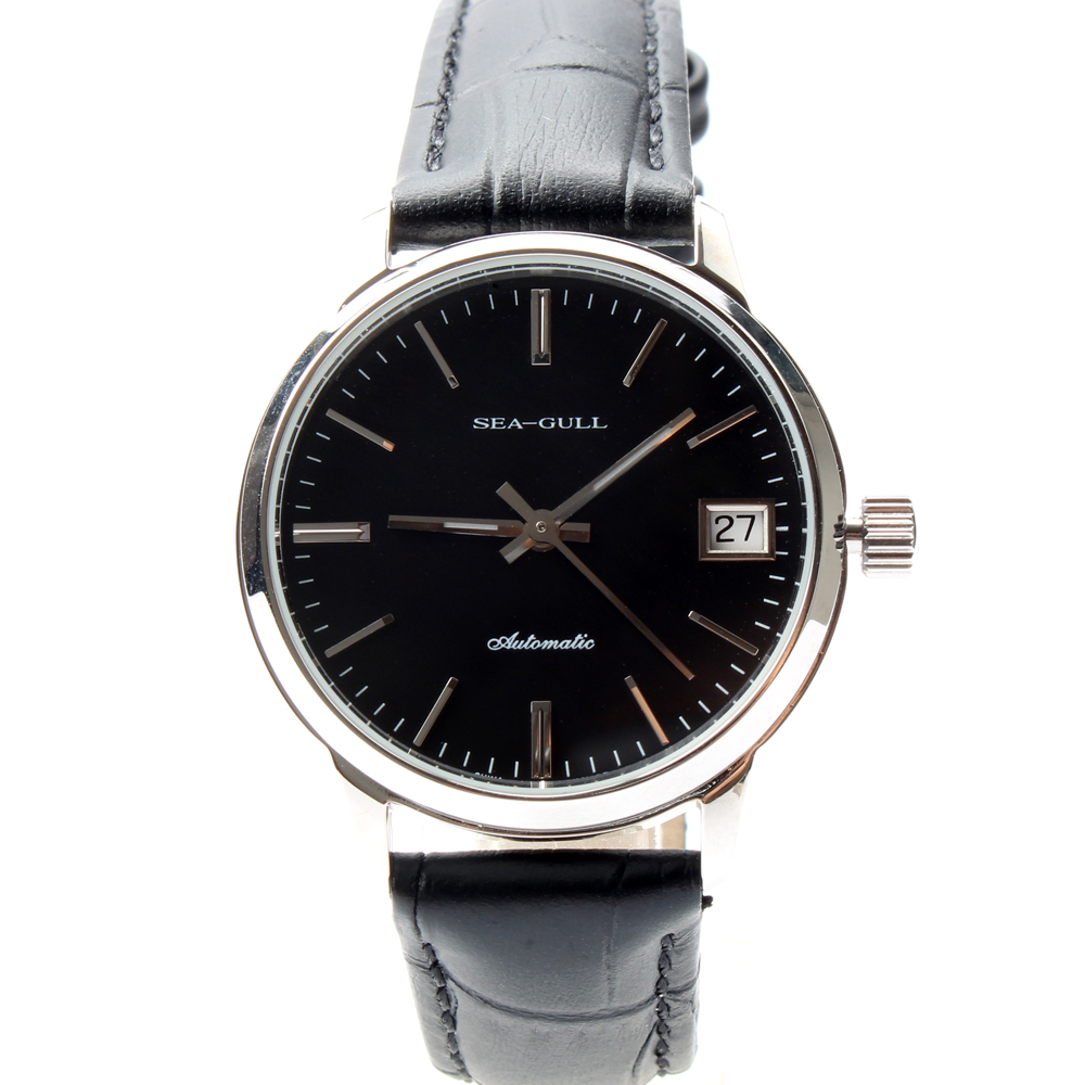 Seagull Genuine Leather Band PVD With Stainless Steel 3 Hands Black Dial Exhibition Back Automatic Women's Watch Sea-gull D101L