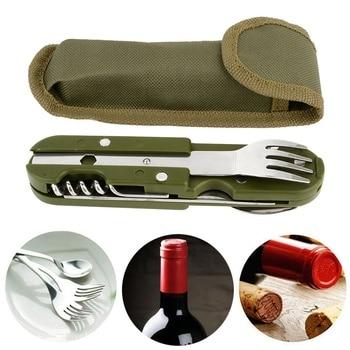 Уличная Складная посуда, ложка/вилка, многоразовая посуда для пешего туризма и кемпинга, снаряжение для пикника из нержавеющей стали, приблизительный комплект, распродажа на алиэкспресс