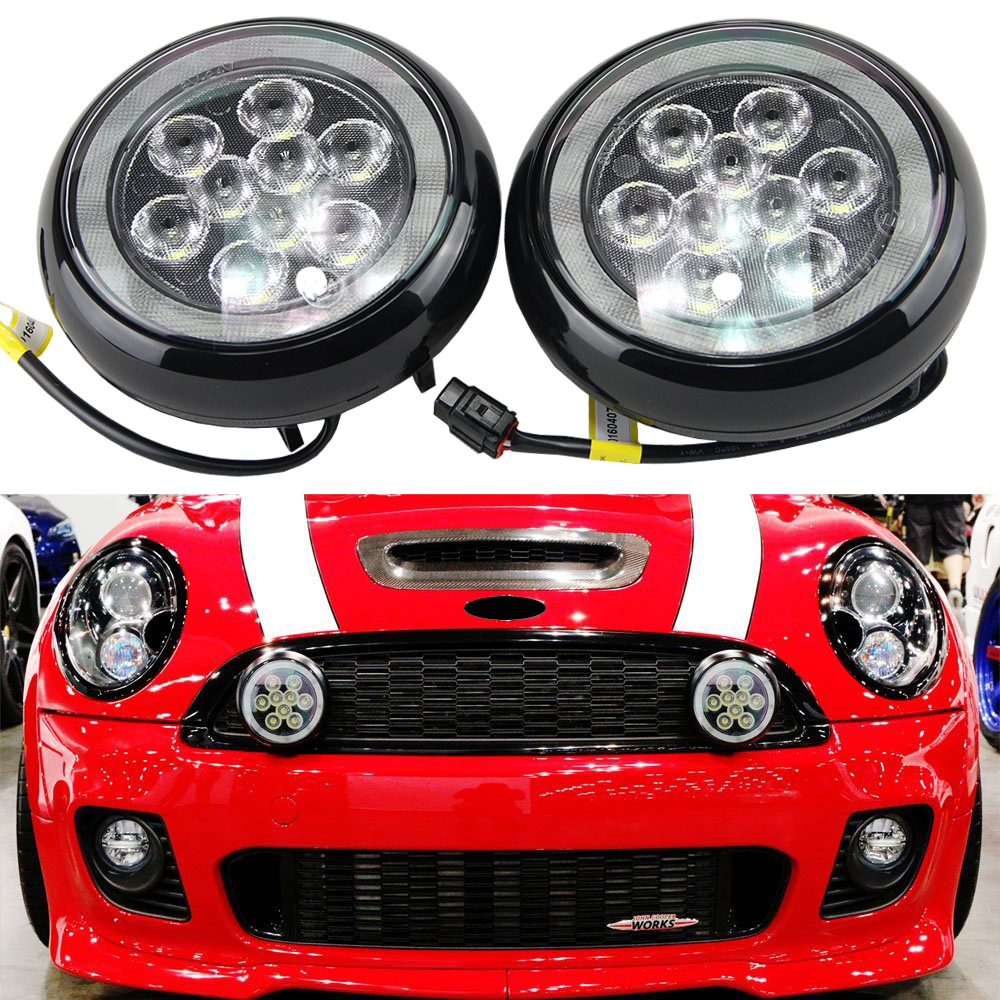 2x Waterproof 12V 12W Car LED DRL Daytime Running Lights with halo ring fog lamp for MINI Cooper 2nd Gen R55 R56 R57 R58 R60 R61