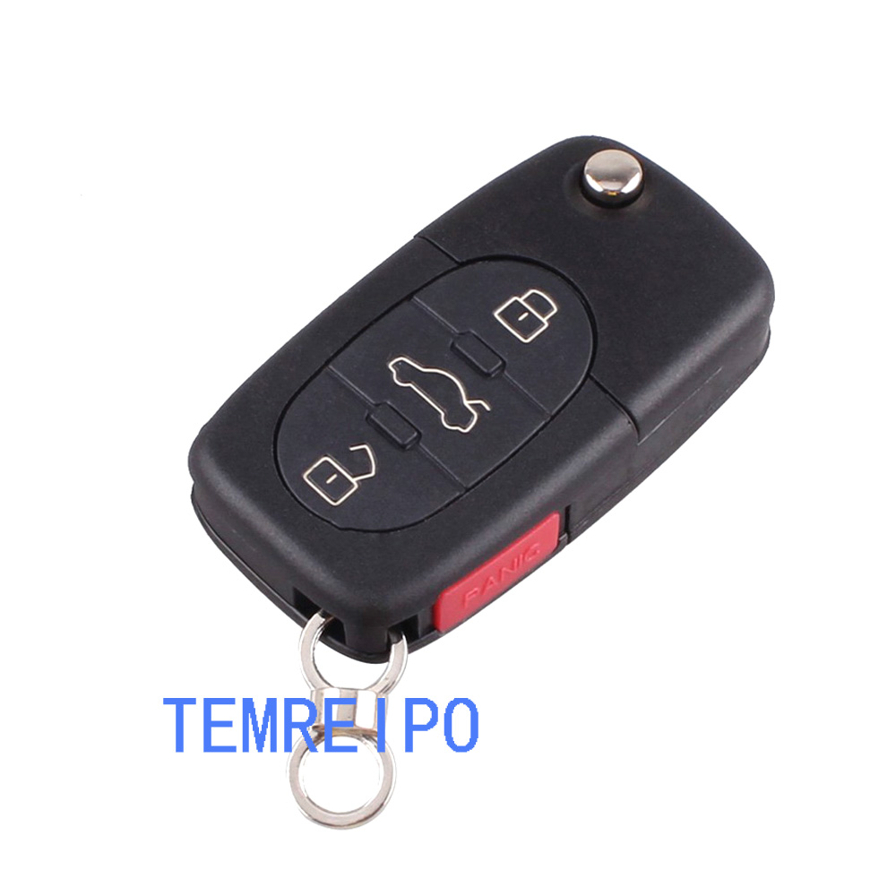 3+1 Panic Remote Flip Folding Key Shell Case Keyless Fob For Audi A4 A6 A8 TT Quattro S4 S6 S8 CR1616/ CR2032